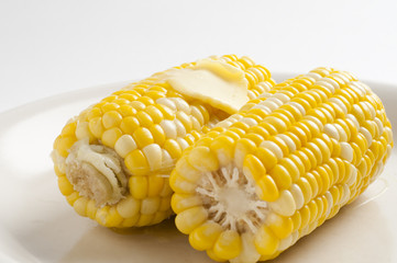 Sweet corn on plate with melted butter