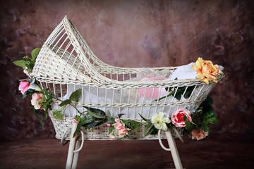 Flowered Antique Wicker Baby Bassinet