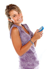 Happy woman texting