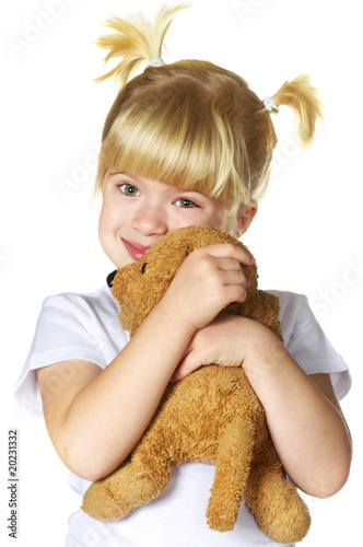 little girl with her puppy toy