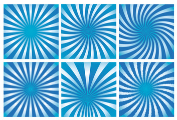 Blue sunburst background set