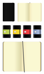 Opened and closed moleskine note books icons set
