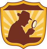 detective inspector with magnifying glass poster
