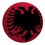 Albania flag on the ball isolated on white. poster