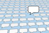 Speech bubble voice talks over social media blue poster