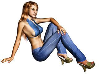 Mulher Perfeita - Sentada Jeans - 3D