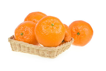 Ripe Tangerine Fruits in Basket Isolated