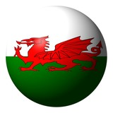 Welsh flag sphere isolated on white illustration