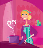 Woman is cooking valentines food with love. VECTOR.