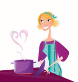 Woman is cooking sweet valentines food. VECTOR