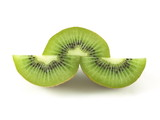 Sliced kiwi on isolated background
