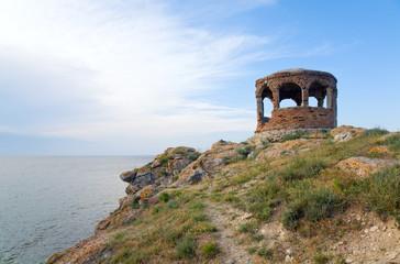 pavilion on summer rocky sea coast