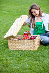 Woman having a picnic