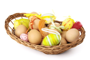 composition of easter eggs isolated on white background