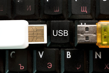 usb stick over keyboard