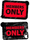 Red used members only grunge stamp poster