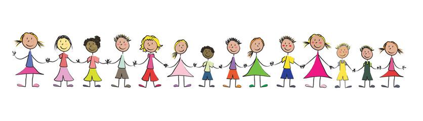 ribambelle d'enfants se tenant par la main