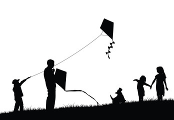 Family flying kite