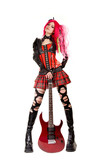 Gothic girl with electro guitar poster