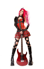 Gothic girl with electro guitar