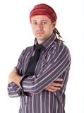 Adult caucasian man with dreadlocks poster
