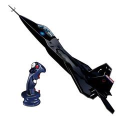 戦闘機と操縦桿