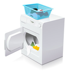 sèche-linge ouvert et son panier à linge (reflet)
