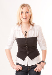 Laughing blonde with vest