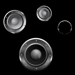 Vector illustration of a three loudspeaker on black