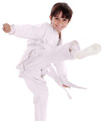 Karate boy excercising