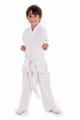 Small karate boy in training
