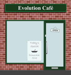 Evolution Cafe advertising todays special Primordial Soup