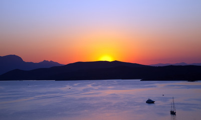 Sunset over Aegean sea, Greece, 2009
