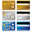 Different credit cards isolated over white background