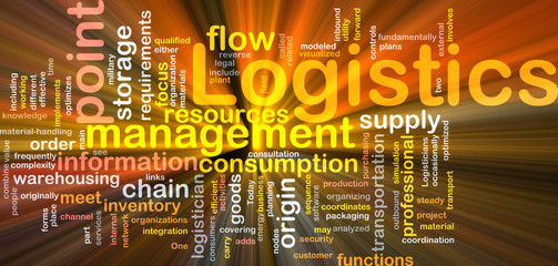 Logistics word cloud glowing
