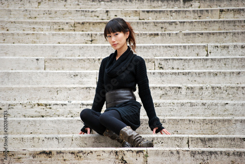 Asian girl on the staircase 02