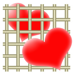Two hearts and bars
