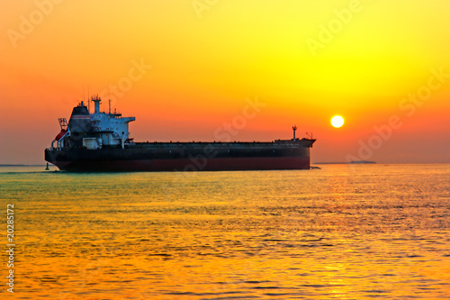 General Cargo Ship in the Sunset near Bremerhaven/Germany