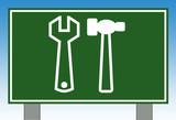 Workman tools road sign poster