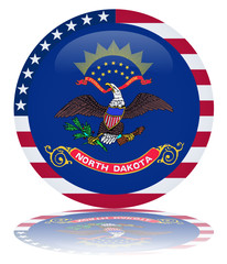 North Dakota Flag Round Button (Dakotan USA Vector Reflection)