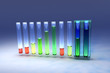 Ten test tubes with colored liquids