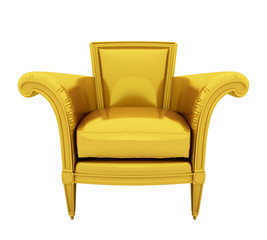 Retro luxury gold chair isolated on white background