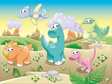 Dinosaurs with background.Cartoon and vector illustration.