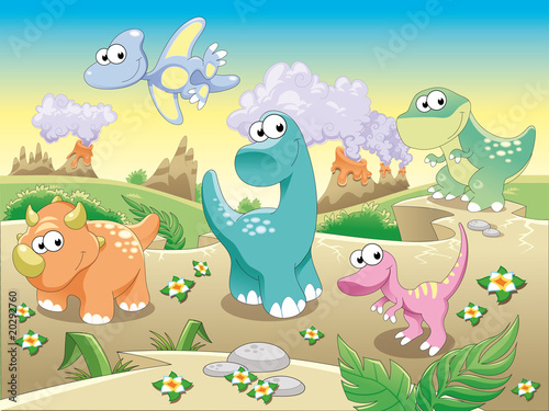 Foto op Canvas Dinosaurs Dinosaurs with background.Cartoon and vector illustration.