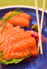 Fresh strips of Norwegian salmon Sashimi and rice Nigiri