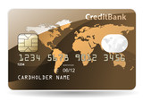 Credit card with world map, chip, embossed digits and hologram. poster