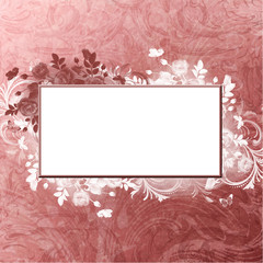 burgundy blank with foliage on vintage background