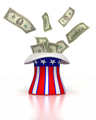 Uncle Sam's hat shooting money out