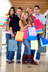 Group of shopping people