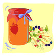 Colorful jam glass with forest flowers